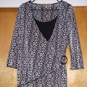 Notations Top Floral Black Size XL 100% Polyester